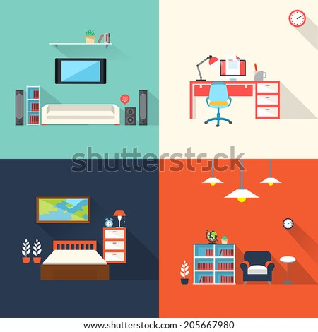 flat design icons set of creative furniture topic - stock vector