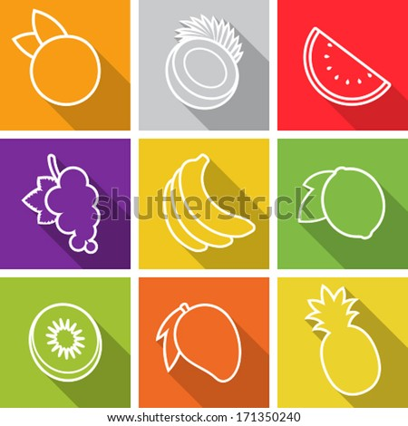 Flat design icons. Set of fruit. Vector illustration. - stock vector