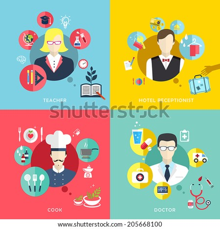 flat design icons set of people professions topic - stock vector