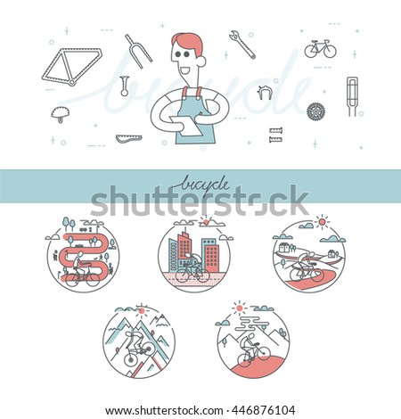 Flat design illustration bicycle icon and Mechanic or serviceman with accessory. line icon design mountain bike,bicycle riding in park and city, - stock vector