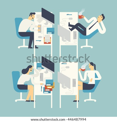 Flat design illustration business people working in an office.