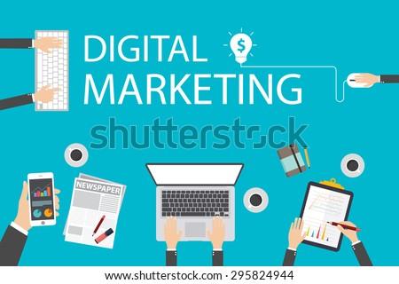 Flat design illustration concept for digital marketing. Concept for web banner - stock vector