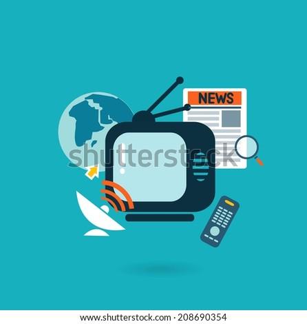 Flat design illustration concept for mass media - stock vector