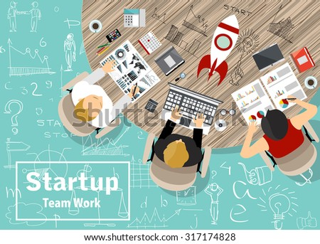 Flat design illustration concepts for business, finance, consulting, management, team work, analysis, strategy and planning, startup. - stock vector