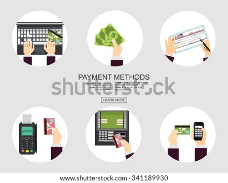 Flat design illustration concepts for Payment Methods. Concepts web banner - stock vector