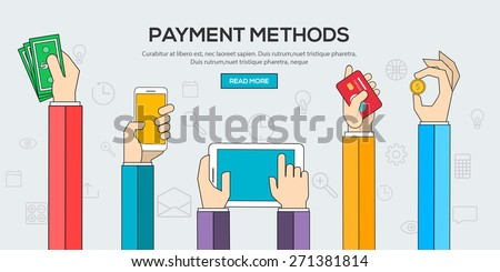 Flat design illustration concepts for Payment Methods. Concepts web banner and printed materials.Vector - stock vector