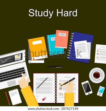 Flat design illustration concepts for study hard, working, research, analysis, management, career, brainstorming, finance, working. Concepts for web banner and printed materials. - stock vector