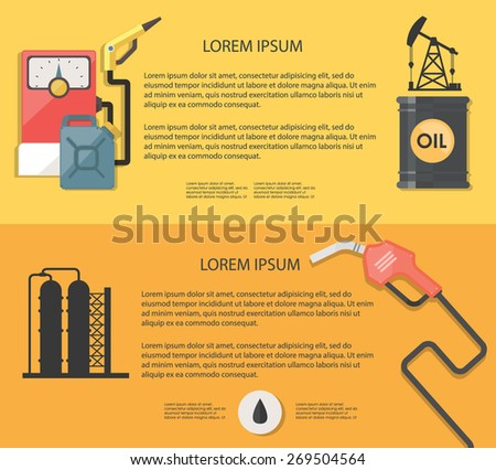 Flat design illustration extraction of oil. Concepts web banner. - stock vector