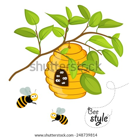 Flat design illustration of a beehive on a tree branch, with cute eyes staring out from the entrance of the hive and another honey bees flying around. In vector - stock vector