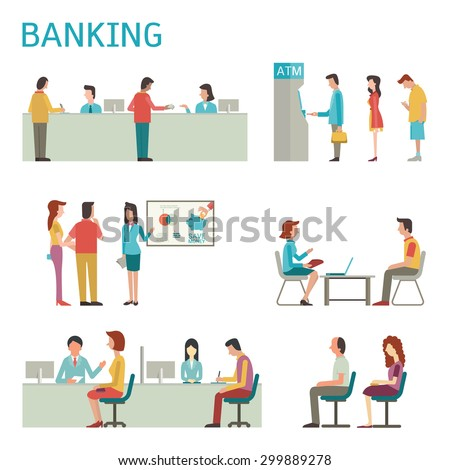 Flat design illustration of banking concept set, bank interior, counter desk, cashier, consulting, presenting, queuing for ATM.    - stock vector