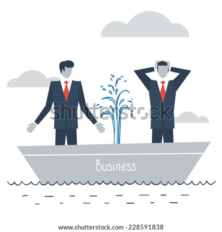 flat design illustration of having difficulties in business - stock vector