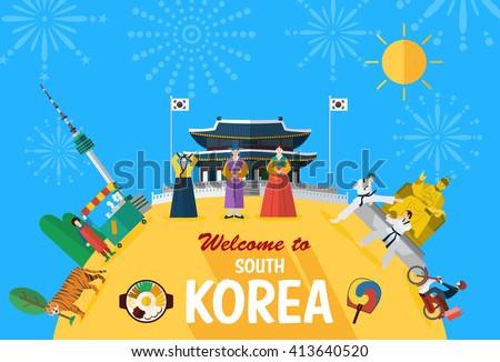 Flat Design Illustration Korean Landmarks Icons Stock