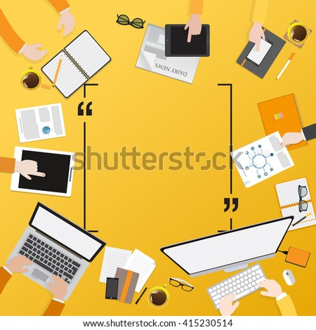 Flat design illustration of modern creative office workspace - stock vector