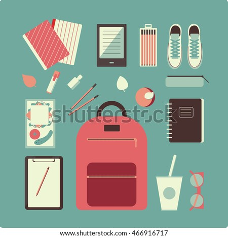 Flat design illustration of school topic in vintage color. School bag, flats, nail polish, lunch, notebooks,croissant, tumbler, vogue bottle. Outfits for school in vector.