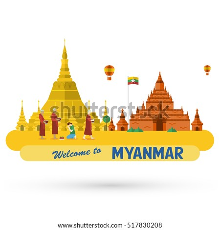 Flat design, illustration of Shwedagon Pagoda and Bagan ancient city