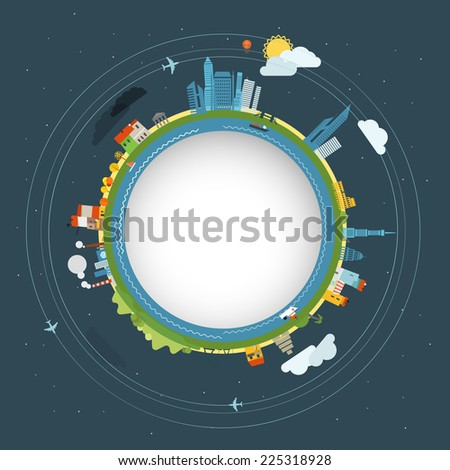 Flat design illustration of the Earth  - stock vector