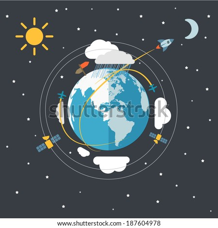 Flat design illustration of the Earth in space  - stock vector