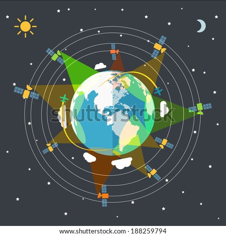 Flat design illustration of the Earth in space and satellites  - stock vector
