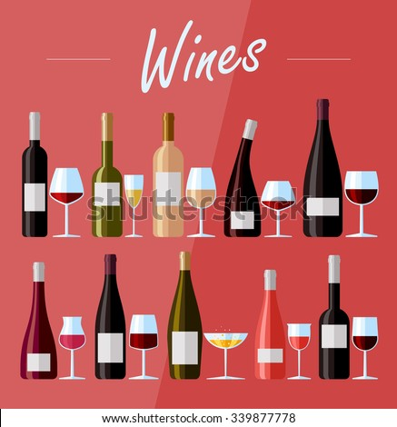 Flat design illustration of wine bottles and glasses with various types of wine - stock vector