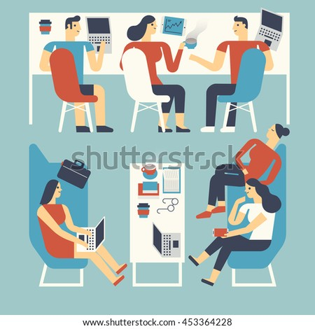 Flat design illustration people working in a co-working space