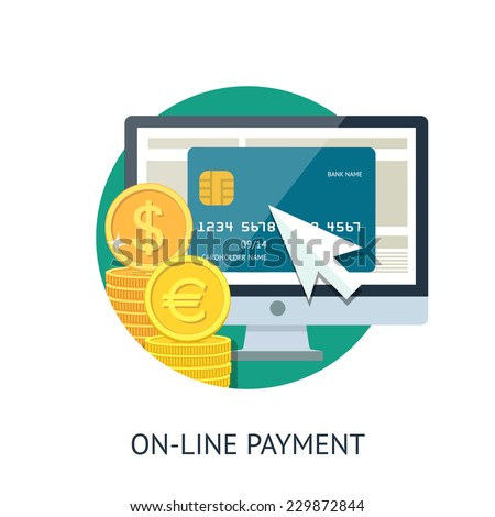 Flat design illustration processing of mobile payment credit card. Online purchase on digital computer. - stock vector