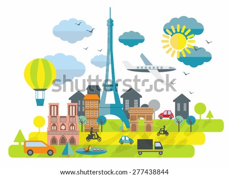 Flat design illustration with Eiffel tower in Paris town - stock vector