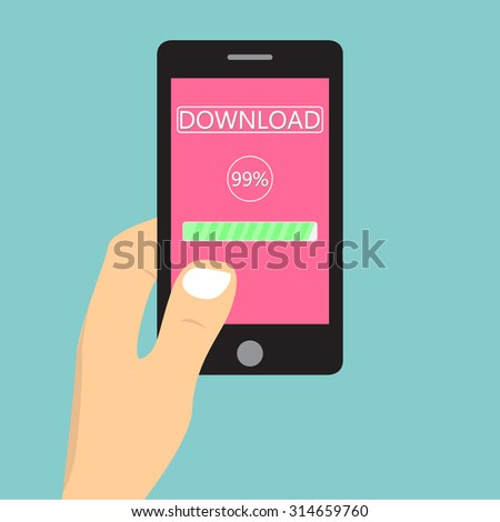 Flat design illustration with hand holding mobile device with downloading application / vector
