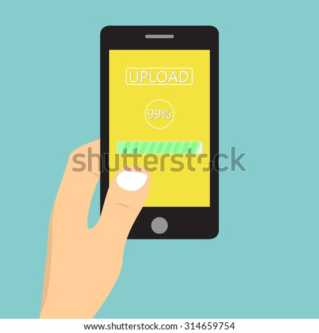 Flat design illustration with hand holding mobile device with uploading application / vector