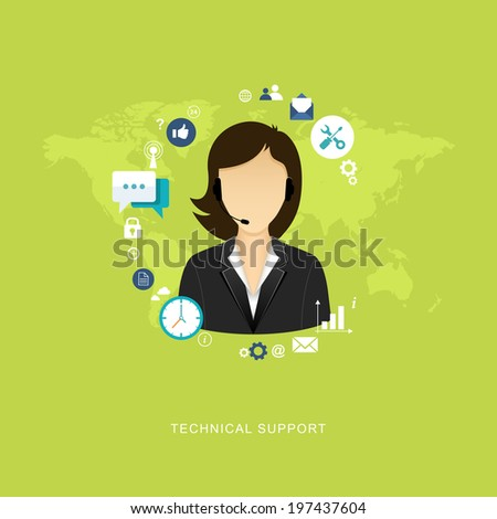 Flat design illustration with icons. Technical support assistant - stock vector