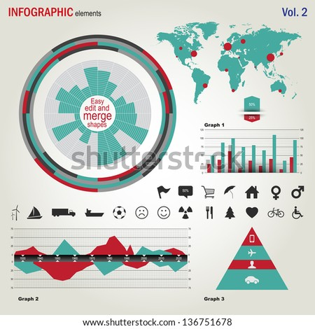 Flat design Infographics elements set. - stock vector