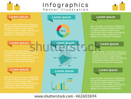 Flat design infographics presenting statistics and information, business brochure, flyer layout, presentation, advertising, marketing - vector illustration