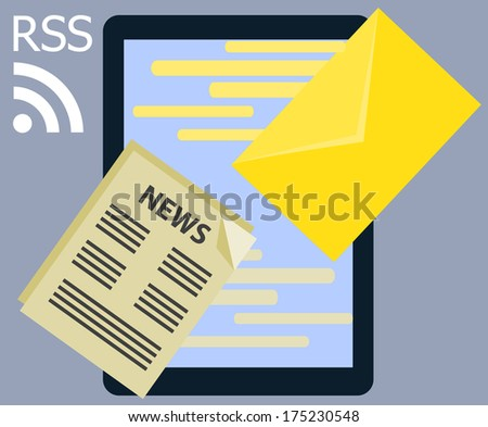 Flat design Information News rss and message Internet communication online technology illustration in vector