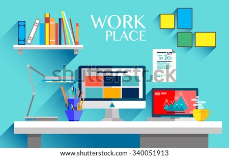 Flat design interior concept of work place with computer, laptop, lamp, to do list, working programs on monitor, organizer, shelf, books, and cup of coffee on blue wall background