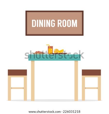 Flat Design Interior Dining Room Vector Illustration - stock vector