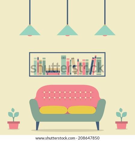 Flat Design Interior Vintage Sofa and Bookshelf - stock vector