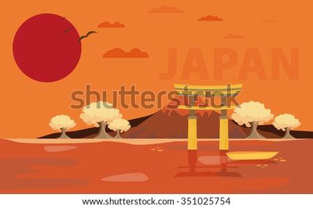 Flat design landscape of Japan illustration vector - stock vector