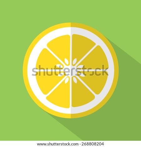 Flat Design Lemon Icon Vector Illustration - stock vector