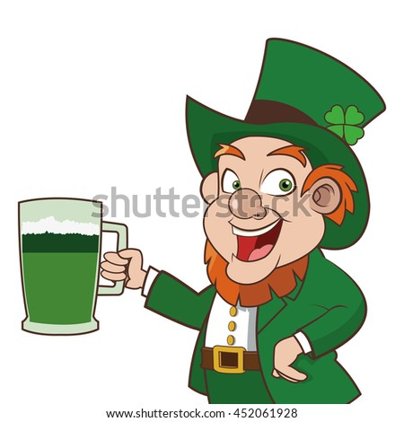 flat design leprechaun character holding beer icon vector illustration