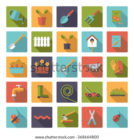 Flat design long shadow gardening vector icons in rounded squares. Set of 25 garden symbols