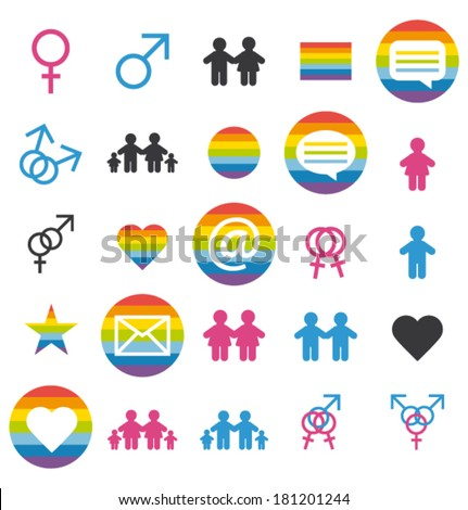 Flat design. Love, family and gays icons and pictograms. Vector set. - stock vector