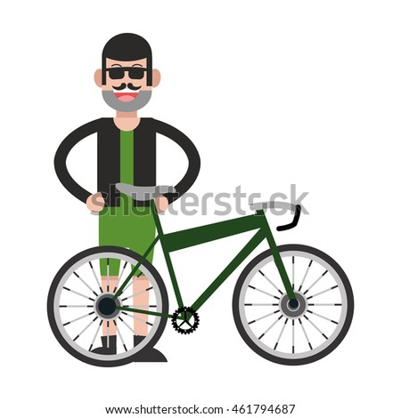 flat design man with facial hair and bike icon vector illustration