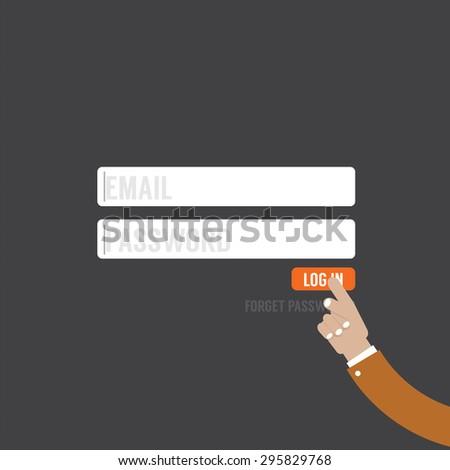 Flat Design Member Login Website Form Vector Illustration - stock vector