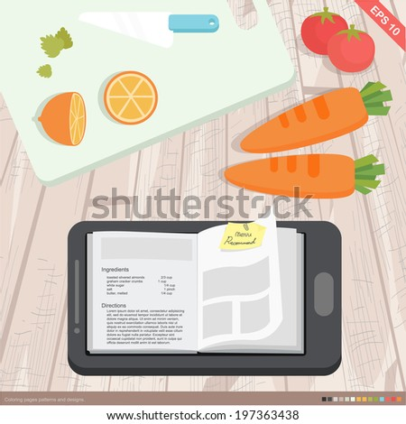 flat design - mobile application cookbook, cooking and food concept - stock vector