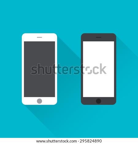 Flat design Mobile Phones, Vector Illustration - stock vector