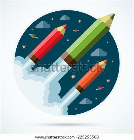 Flat design modern creative startup concept with starting pencil rockets. Vector illustration - stock vector