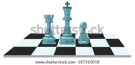 Flat design modern illustration concept of business strategy with chess figures on a chess board, VECTOR - stock vector