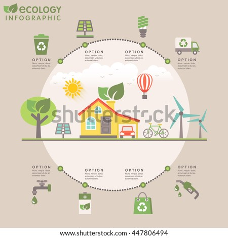 Flat design modern infographic with ecology concept. Template automated system smart eco house with icons of recycle, solar, clean water, green and solar energy. Vector - eps10.							  - stock vector