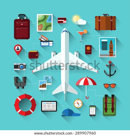 Flat design modern vector icons set of traveling on airplane, planning a summer vacation, tourism, journey in summer holidays. Travel objects and passenger luggage. - stock vector