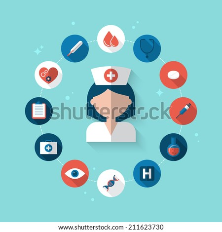 Flat design modern vector illustration concept for health care and medical help - stock vector