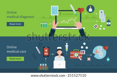 Flat design modern vector illustration concept for health care and online diagnosis. Healthcare system concept. Concept for banners and print media  - stock vector